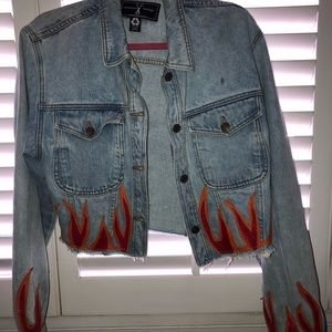 American vintage crop denim jacket flames S-M